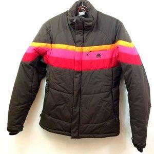 Nike Brown Women's Multicolor Striped Jacket Sz S